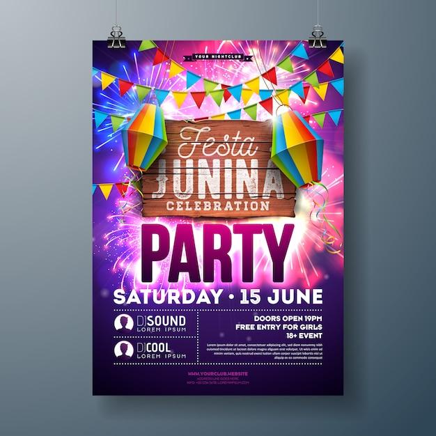 Festa junina party flyer con volantino lanterna di carta e fuochi d'artificio Vettore Premium