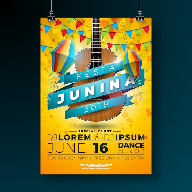 Festa junina party poster modello illustrazione con chitarra acustica. Vettore Premium