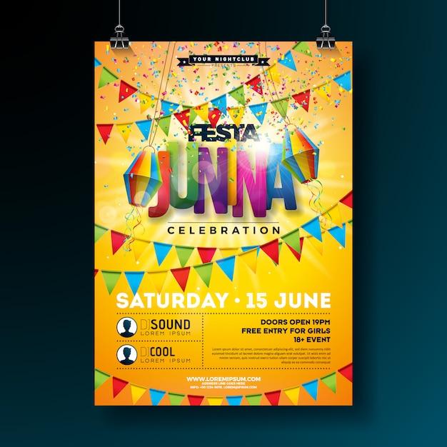 Festa junina tradizionale brasile party flyer o poster modello design Vettore Premium