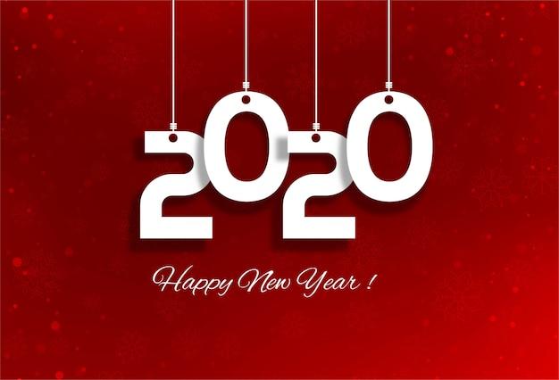 Festival del biglietto di auguri di felice anno nuovo 2020 Vettore gratuito