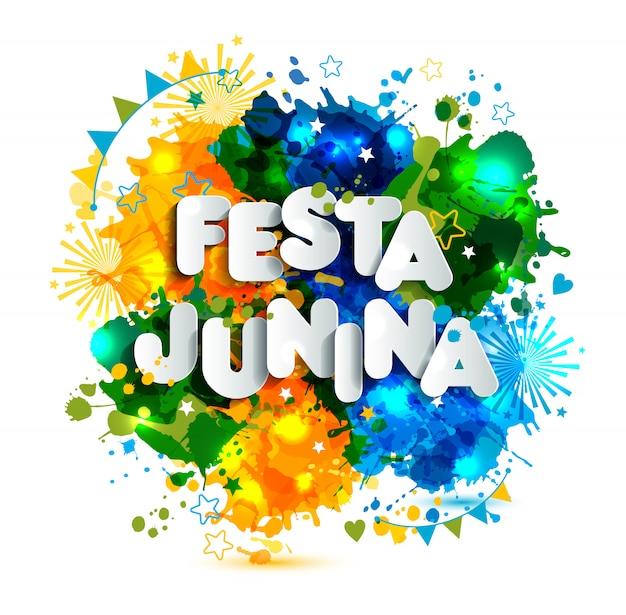 Festival del villaggio festa junina in america latina. icone impostate in colori vivaci. decorazione in stile piatto Vettore Premium