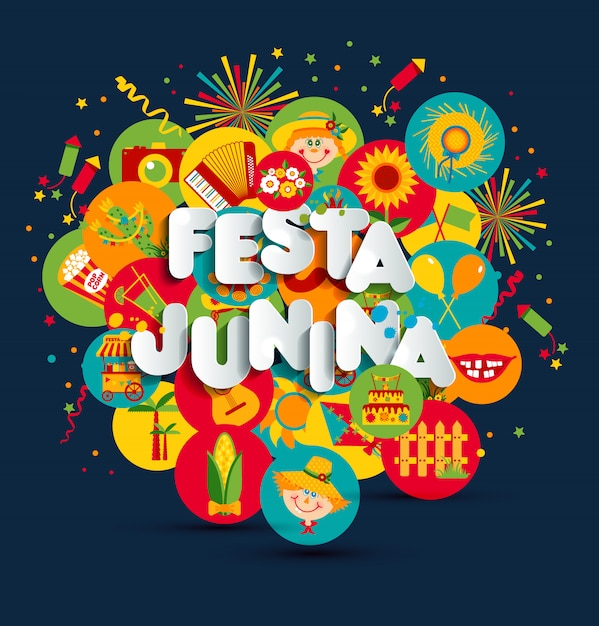 Festival del villaggio festa junina in america latina. Vettore Premium