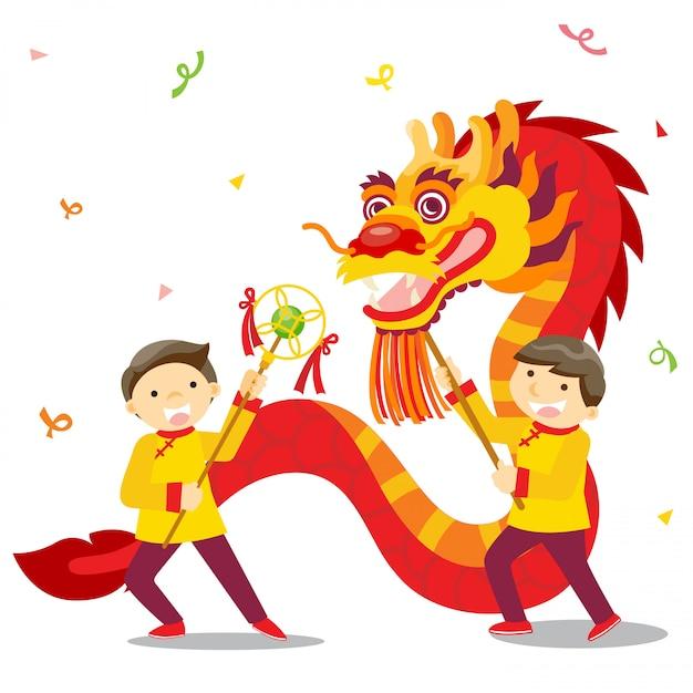 Festival di capodanno cinese / danza del drago Vettore Premium