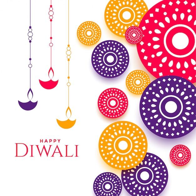 Festival di diwali felice decorativo colorato Vettore gratuito