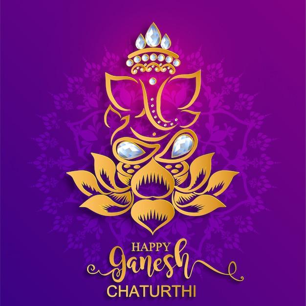 Festival di ganesh chaturthi con lord ganesha lucido dorato modellato e cristalli su sfondo di colore di carta. Vettore Premium