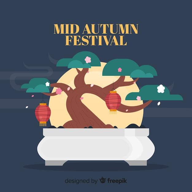 Festival di metà autunno design piatto Vettore gratuito
