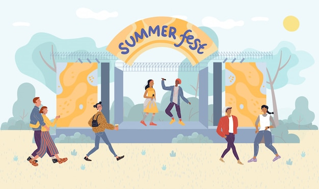 Festival estivo esibizione dal vivo per i visitatori del parco Vettore Premium