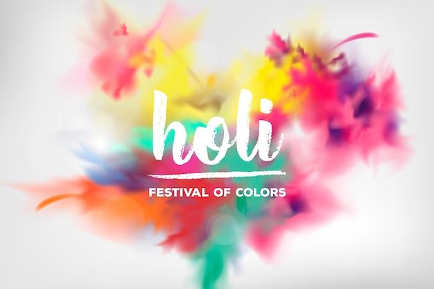 Festival holi tradizionale esplosione realistica Vettore gratuito