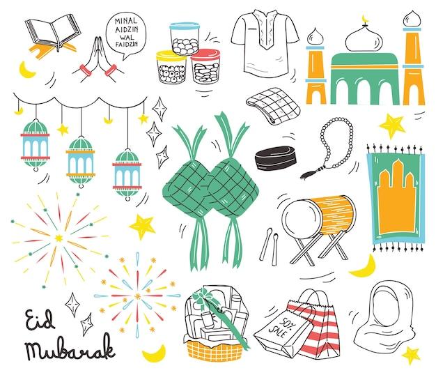 Festival indonesiano di eid al adha in stile doodle Vettore Premium