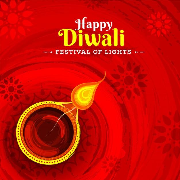 Festival of lights happy diwali greeting card design con illust Vettore Premium