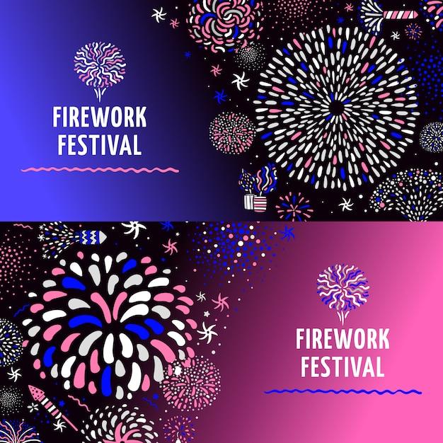 Festive firework 2 banners set Vettore gratuito
