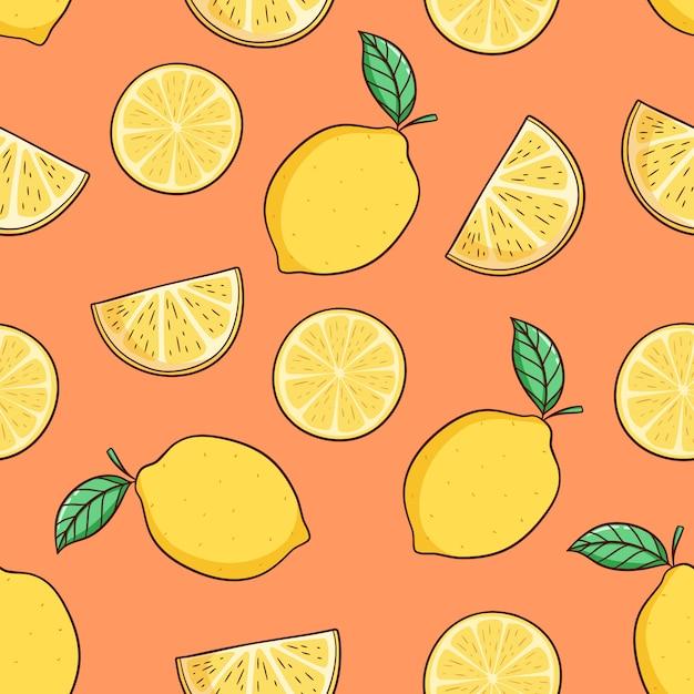 Fetta di limone disegnato a mano con foglia per tema estivo in seamless Vettore Premium
