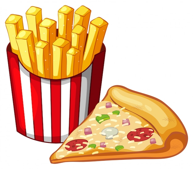 Fetta di pizza e sacchetto di patatine fritte Vettore gratuito