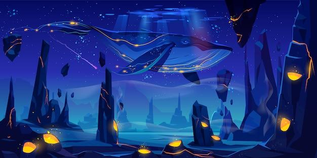 Fiaba spaziale con enorme balena Vettore gratuito