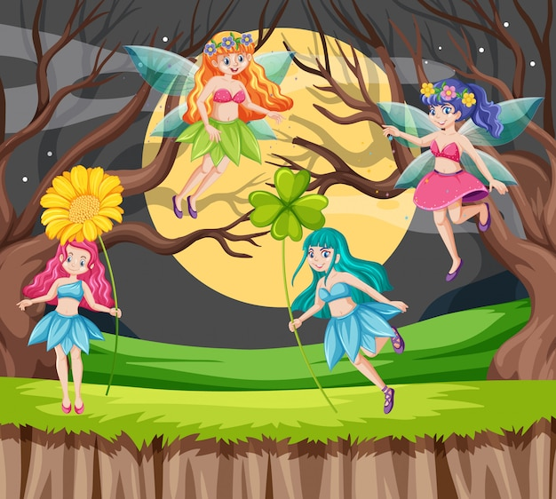 Fiabe che tengono lo stile del fumetto del fiore sul fondo della foresta e della luna Vettore gratuito