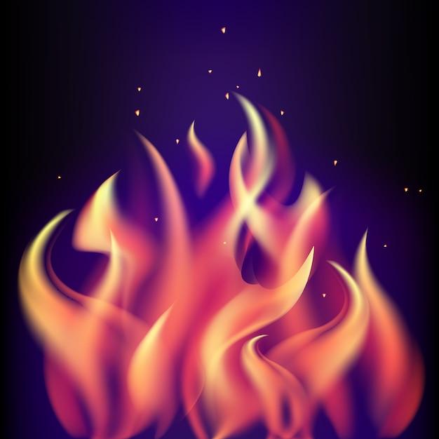 Fiamma bruciante rossa del fuoco su fondo porpora nero Vettore Premium