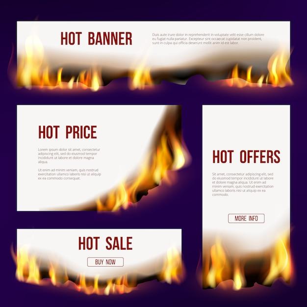 Fiamma delle bandiere. modello di pubblicità con fuoco lingua bruciando progetto di vendita con testo Vettore Premium