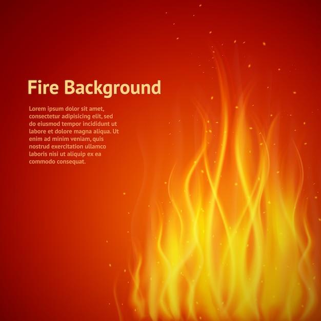 Fiamma sfondo rosso con modello di testo Vettore gratuito