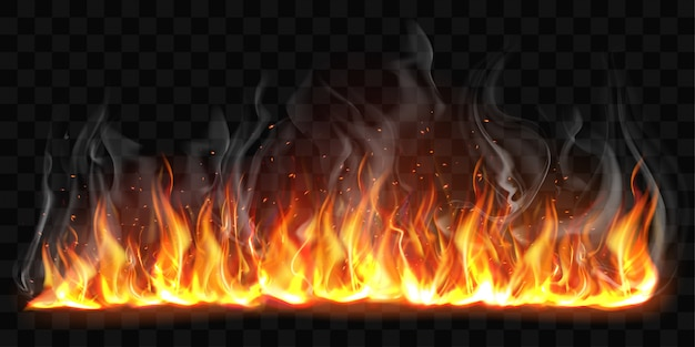 Fiamme brucianti realistiche del fuoco di vettore con fumo Vettore gratuito