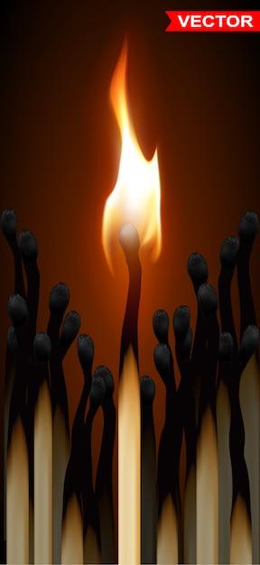Fiammiferi di legno realistici con fiamma Vettore Premium