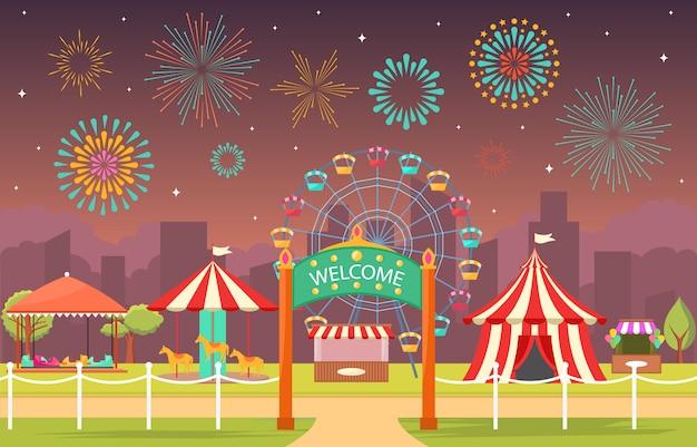 Fiera di divertimento di festival di carnevale del circo del parco di divertimenti con l'illustrazione del paesaggio del fuoco d'artificio Vettore Premium