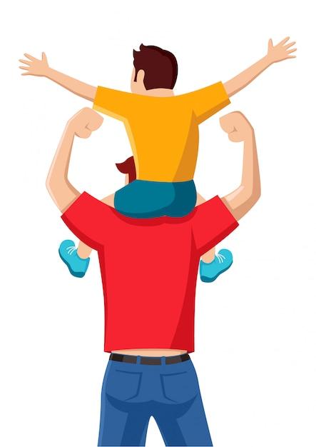 Figlio sulle spalle di suo padre Vettore Premium