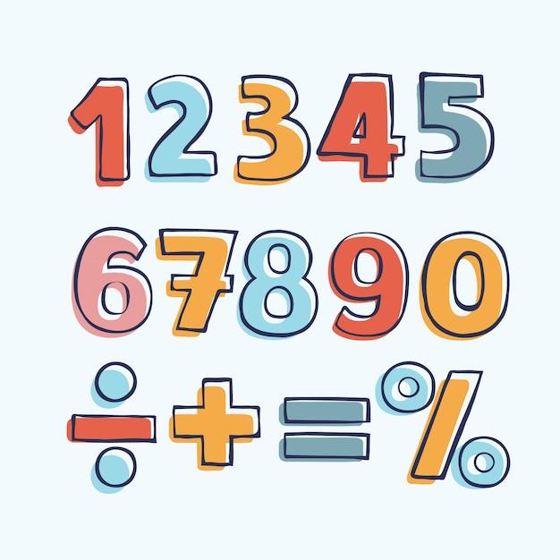 Figure di cartoni animati per bambini. set di numeri di colore Vettore Premium