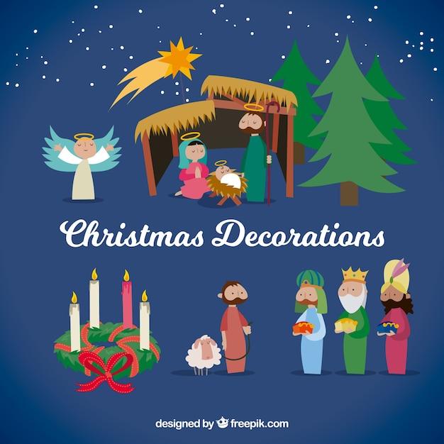 Figure Di Natale Con Desgn Piatto Scaricare Vettori Gratis
