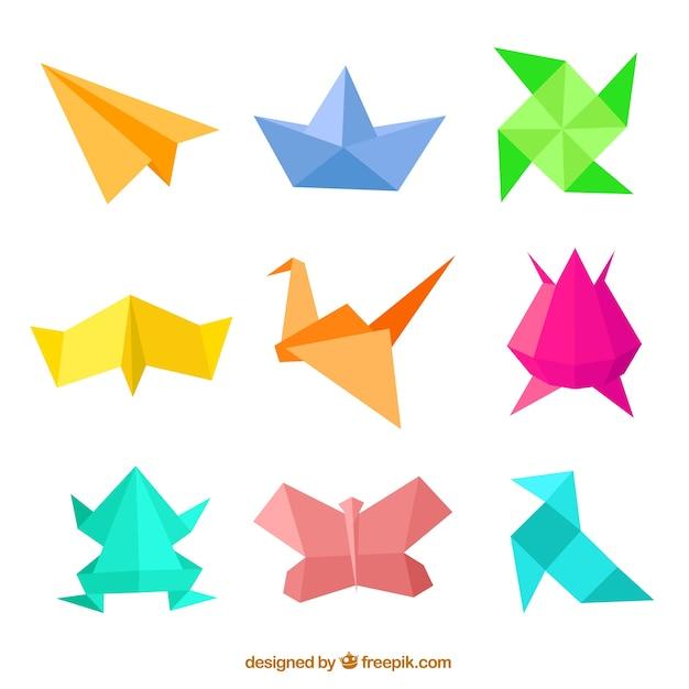 Figure di origami Vettore gratuito