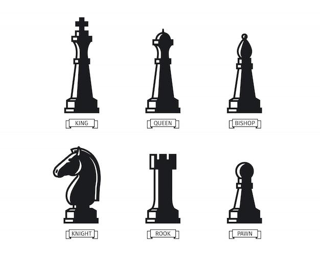 Figure di scacchi con nomi Vettore Premium