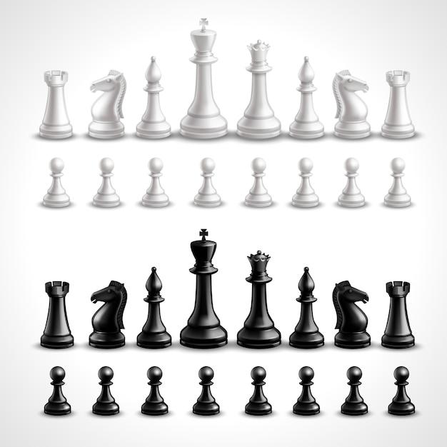 Figure di scacchi realistiche Vettore gratuito