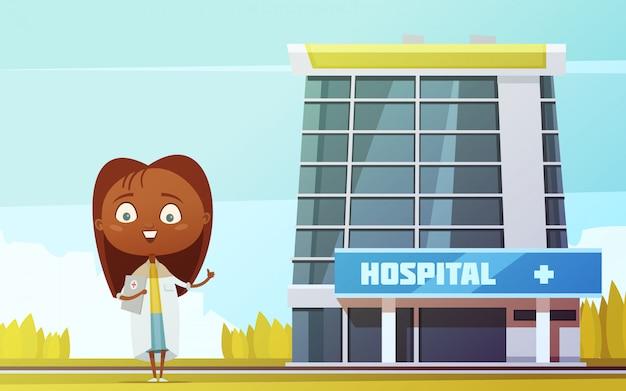 Figurina astratta esile di medico femminile sveglio al vettore piano del fumetto del fondo della costruzione dell'ospedale della città Vettore gratuito