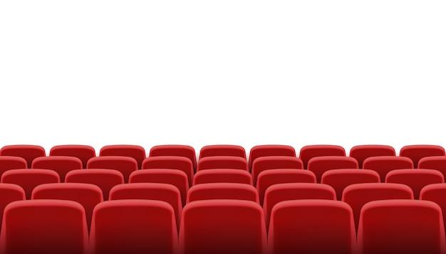 File di sedili cinematografici o teatrali rossi Vettore Premium