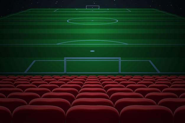 File di sedili rossi su stadio di calcio. sfondo di calcio Vettore Premium