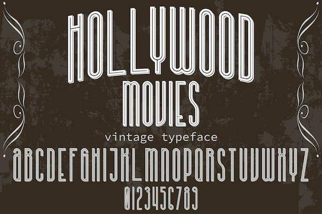 Film di carattere vintage design di etichette hollywood Vettore Premium