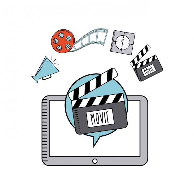 Film icone linea piatta online Vettore Premium
