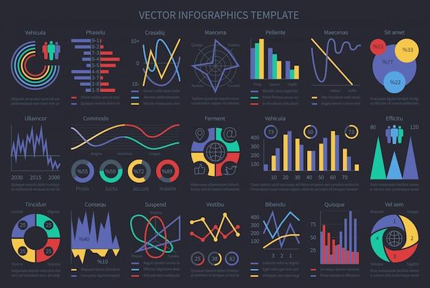 Finanza infografica modello diagrammi di flusso, grafici, diagrammi ed elementi cronologici. vector l'illustrazione del diagramma, del grafico e del grafico di finanza aziendale della raccolta Vettore Premium