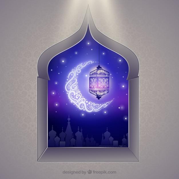 Finestra arabo con luna crescente Vettore gratuito