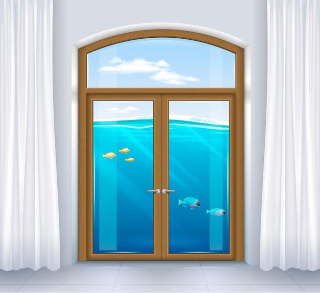 Finestra del paesaggio sottomarino Vettore Premium