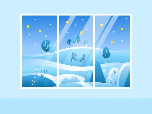 Finestra di buon natale di inverno con una vista della foresta nevosa Vettore Premium