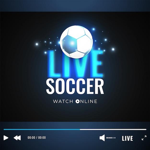 Finestra di gioco del video di calcio in tensione con l'illustrazione della sfera di calcio Vettore Premium