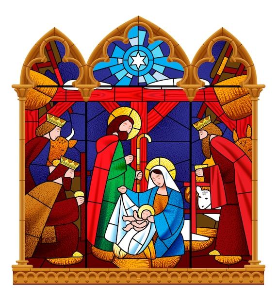 Finestra di vetro macchiata che descrive la scena di natale nel telaio gotico isolato su bianco Vettore Premium