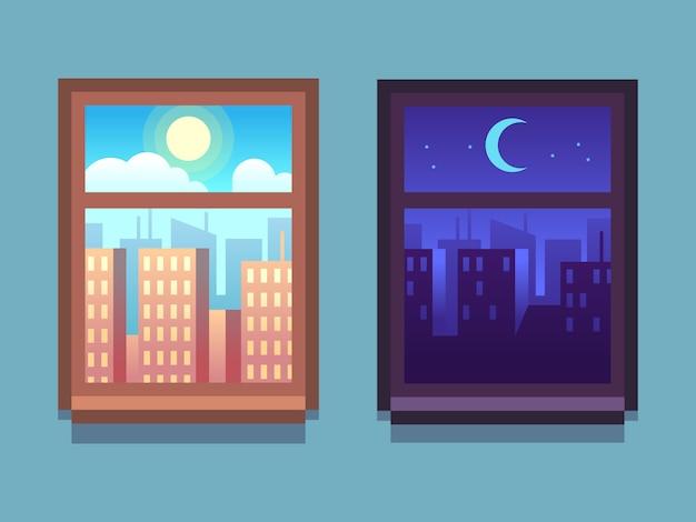Finestra giorno e notte. grattacieli del fumetto di notte con la luna e le stelle, al giorno con il sole dentro le finestre di casa. Vettore Premium