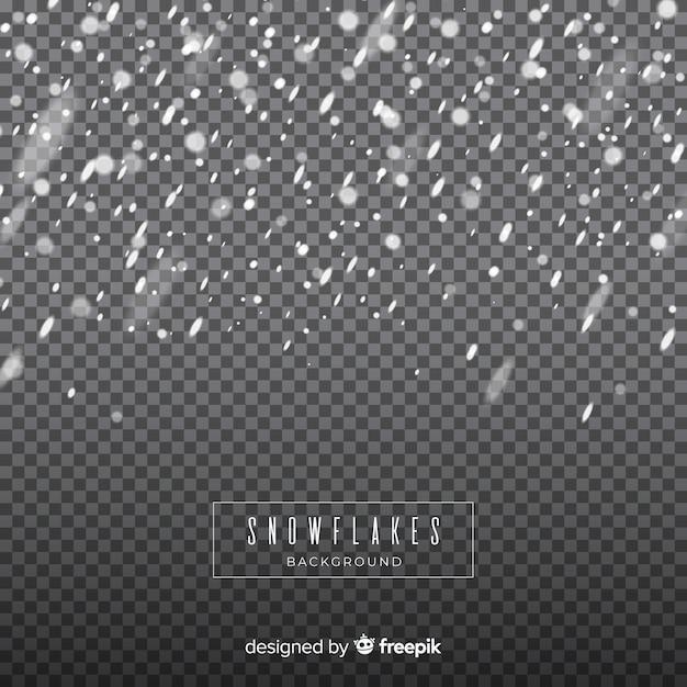 Fiocchi di neve caduta realistico in sfondo trasparente Vettore gratuito