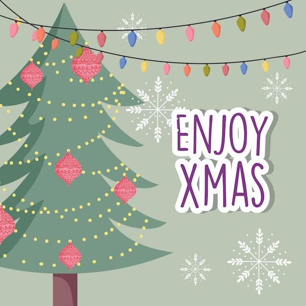 Fiocchi di neve decorativi delle luci delle palle dell'albero di celebrazione di buon natale Vettore Premium