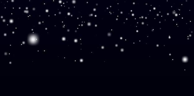 Fiocchi di neve dentro. struttura astratta della neve su fondo nero Vettore Premium