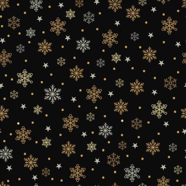 Fiocchi di neve e stelle d'oro e d'argento senza cuciture su un fondo nero Vettore Premium