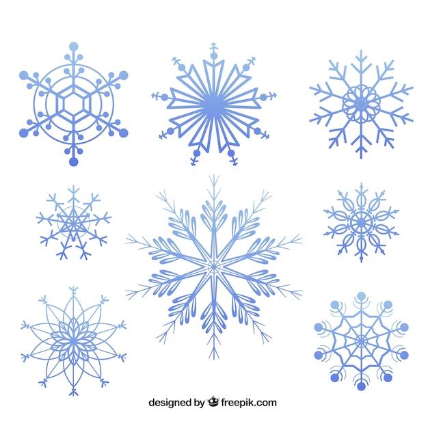 Fiocchi di neve geometriche pacchetto Vettore gratuito