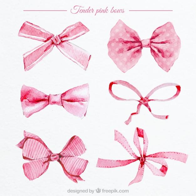 Fiocchi rosa acquerello Vettore gratuito