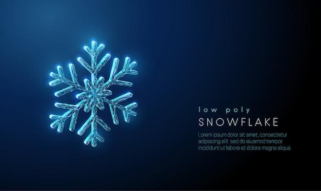 Fiocco di neve astratto. design in stile poli basso. sfondo geometrico astratto Vettore Premium